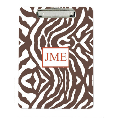 Clairebella Personalized Clipboard Zebra